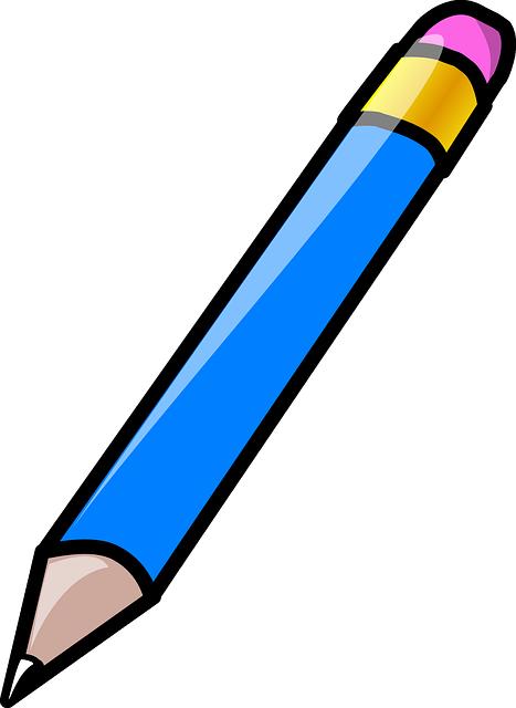Lápiz azul escribiendo.