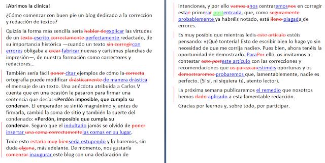 Ejemplo de corrección de estilo con el control de cambios de Word activado