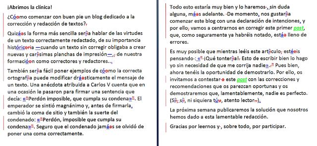 Ejemplo de corrección ortotipográfica con el control de cambios de Word activado