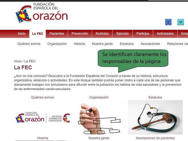 Ejemplo de página web de una asociación de salud reconocida
