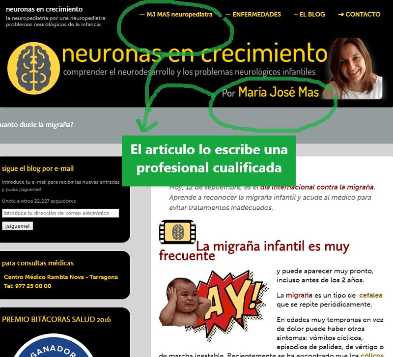 Artículo sobre la migraña, escrito por una neuropediatra