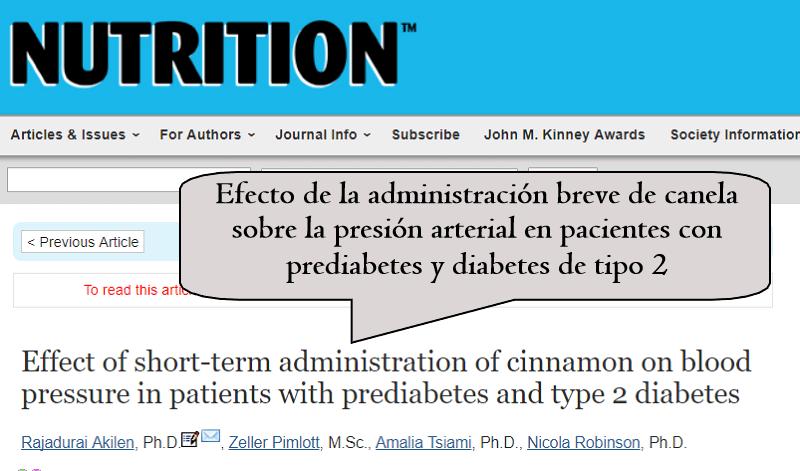 Efecto de la administración breve de canela sobre la presión arterial en pacientes con prediabetes y diabetes de tipo 2